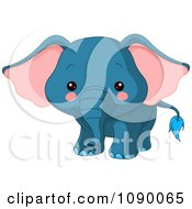 Clipart Cute Blue Baby Elephant Royalty Free Vector Illustration by Pushkin