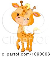 Clipart Cute Baby Giraffe Smiling Royalty Free Vector Illustration