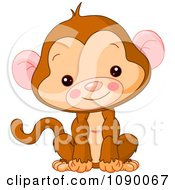 Clipart Cute Baby Monkey Sitting Upright And Smiling Royalty Free Vector Illustration by Pushkin #COLLC1090067-0093