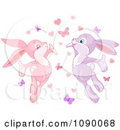 Clipart Bunny Couple With Love Hearts And Butterflies Royalty Free Vector Illustration