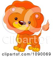 Clipart Cute Lion Cube With A Mane Royalty Free Vector Illustration by Pushkin