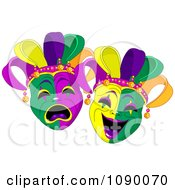 Clipart Happy And Sad Mardi Gras Masks Royalty Free Vector Illustration by Pushkin #COLLC1090070-0093
