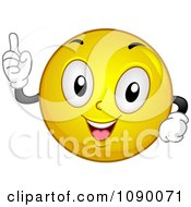 Clipart Smiley Emoticon Holding Up 1 Finger Royalty Free Vector Illustration