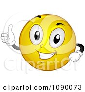 Clipart Smiley Emoticon Holding A Thumb Up Royalty Free Vector Illustration