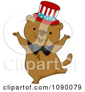 Clipart Dancing Groundhog Wearing An American Top Hat Royalty Free Vector Illustration