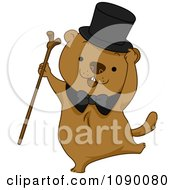 Clipart Groundhog Dancing With A Cane And Top Hat Royalty Free Vector Illustration by BNP Design Studio