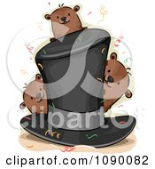 Clipart Top Hat With Confetti And Groundhogs Royalty Free Vector Illustration