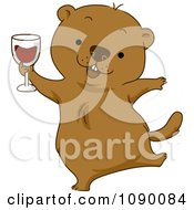 Clipart Happy Groundhog Celebrating With Red Wine Royalty Free Vector Illustration