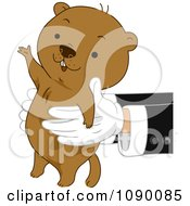 Clipart Pair Of Hands Holding Out A Happy Groundhog Royalty Free Vector Illustration
