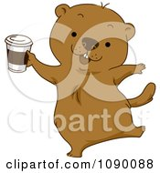 Clipart Happy Groundhog Celebrating With Coffee Royalty Free Vector Illustration