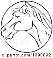 Clipart Black And White Horse Chinese Zodiac Circle Royalty Free Vector Illustration by BNP Design Studio