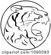 Clipart Black And White Tiger Chinese Zodiac Circle Royalty Free Vector Illustration