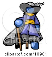 Blue Male Pirate With A Cane And A Peg Leg Clipart Illustration by Leo Blanchette