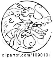 Clipart Black And White Dragon Chinese Zodiac Circle Royalty Free Vector Illustration