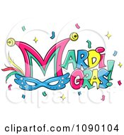 Clipart Mardi Gras Greeting With Confetti Bells And A Mask Royalty Free Vector Illustration