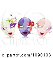 White Purple And Pink Female Mardi Gras Masks