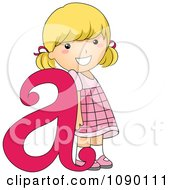 Clipart Letter A Girl Child Royalty Free Vector Illustration