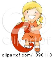Clipart Letter C Girl Child Royalty Free Vector Illustration by BNP Design Studio