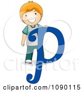 Clipart Letter P Boy Child Royalty Free Vector Illustration