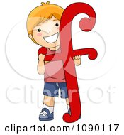 Clipart Letter F Boy Child Royalty Free Vector Illustration