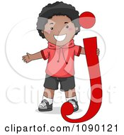 Clipart Letter J Black Boy Child Royalty Free Vector Illustration