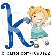 Clipart Letter K Girl Child Royalty Free Vector Illustration