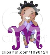 Clipart Letter M Black Girl Child Royalty Free Vector Illustration