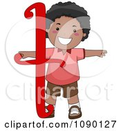 Clipart Letter T Black Boy Child Royalty Free Vector Illustration