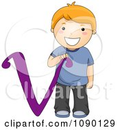 Clipart Letter V Boy Child Royalty Free Vector Illustration