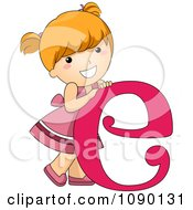 Clipart Letter E Girl Child Royalty Free Vector Illustration