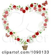 Potted Rose Vine Forming A Heart Frame With Red Butterflies