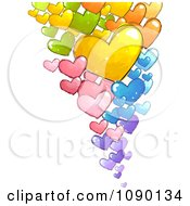 Clipart Colorful Floating Doodled Hearts Royalty Free Vector Illustration