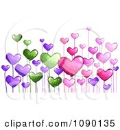 Colorful Doodled Heart Flowers