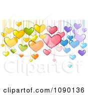 Clipart Colorful Suspended Doodled Hearts Royalty Free Vector Illustration