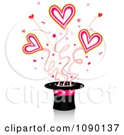 Clipart Magic Top Hat With Shooting Hearts Royalty Free Vector Illustration by BNP Design Studio