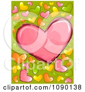 Background Of Colorful Doodled Hearts On Green