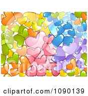 Seamless Background Of Colorful Doodled Hearts