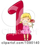 Clipart School Girl Holding 1 Flower With Number One Royalty Free Vector Illustration