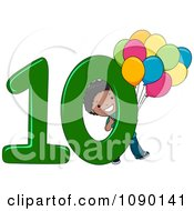 Clipart Black School Boy Holding Ten Balloons By Number 10 Royalty Free Vector Illustration