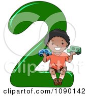 Clipart Black School Boy Holding Two Cars On Number 2 Royalty Free Vector Illustration