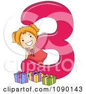 Clipart School Girl And 3 Presents By Number Three Royalty Free Vector Illustration