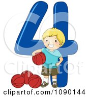 Clipart School Boy With Four Basketballs By Number 4 Royalty Free Vector Illustration