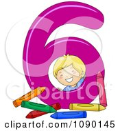 Clipart School Boy With Six Crayons By Number 6 Royalty Free Vector Illustration