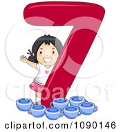 Clipart Asian School Girl With 7 Cups By Number Seven Royalty Free Vector Illustration