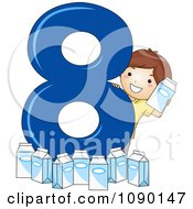 Clipart School Boy With Eight Milk Cartons By Number 8 Royalty Free Vector Illustration