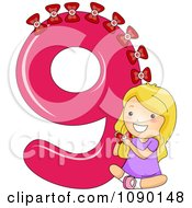 Clipart School Girl Putting 9 Bows On Number Nine Royalty Free Vector Illustration