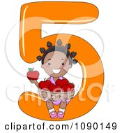 Black School Girl Holding Five Apples On Number 5