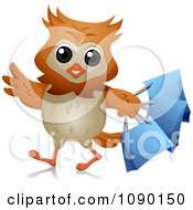 Clipart Shopper Owl With Blue Bags Royalty Free Vector Illustration