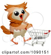 Clipart Shopper Owl Pushing A Grocery Cart Royalty Free Vector Illustration