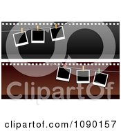 Clipart Two Polaroid Picture And Film Strip Website Banners Royalty Free Vector Illustration